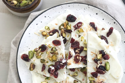 Cranberry Pistachio and Coconut Frozen Bark