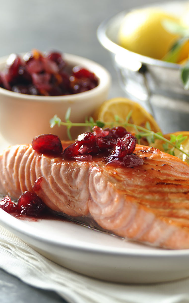 Grilled Salmon with Spiced Cranberry Relish