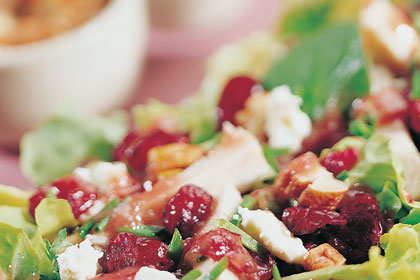 Turkey Salad with Cranberry Feta Cheese Dressing