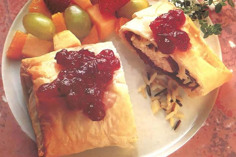 Wild Rice and Cranberry Phyllo Rolls