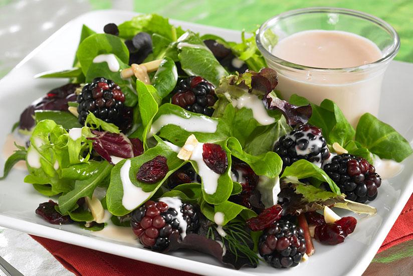Fruity Green Salad with Ruby Grapefruit Dressing
